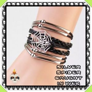 Jewelry - 🆕✅ SILVER SPIDER IN WEB BLACK LEATHER BRACELET.